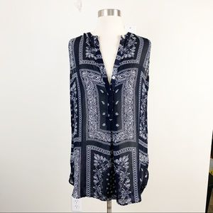 Banana Republic Blue Paisley Bandana Print Top